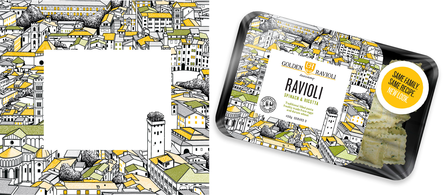Golden Ravioli packaging illustration